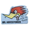Mr. Horsepower White Iron-on Patch