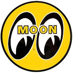 Moon eyeball logo 12 yellow decal for Moon valley motor care