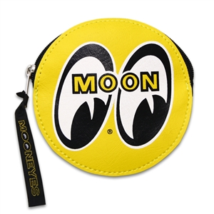Yellow mooneyes logo coin purse with zipper for Moon valley motor care