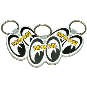 White mooneyes eye shaped logo keychain with rubber base for Moon valley motor care