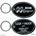 Moon Equipped Oval Rubber Keychain - Black