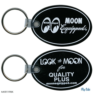 Moon equipped oval rubber keychain black for Moon valley motor care