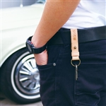 MOON LEATHER BUTTON STUD KEY RING