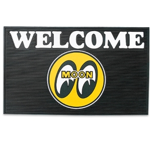 Mooneyes black rubber welcome mat with mqqn eyeball logo for Moon valley motor care
