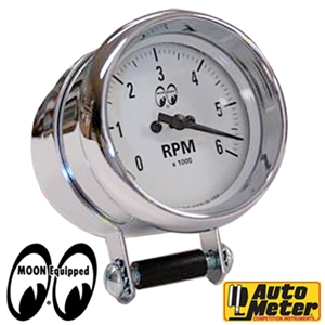 Moon 2 5 8 6000rpm auto meter tachometer white for Moon valley motor care