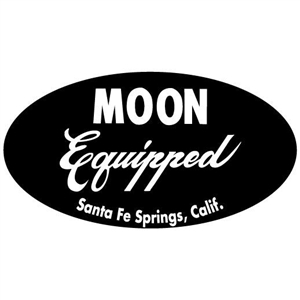 Moon equipped oval sticker black for Moon valley motor care