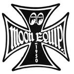 Moon Equipped Iron Cross Logo Sticker - Black