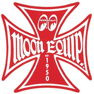 Moon equipped iron cross logo sticker red for Moon valley motor care