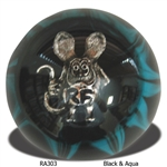 Rat Fink Shift Knob - Black & Aqua
