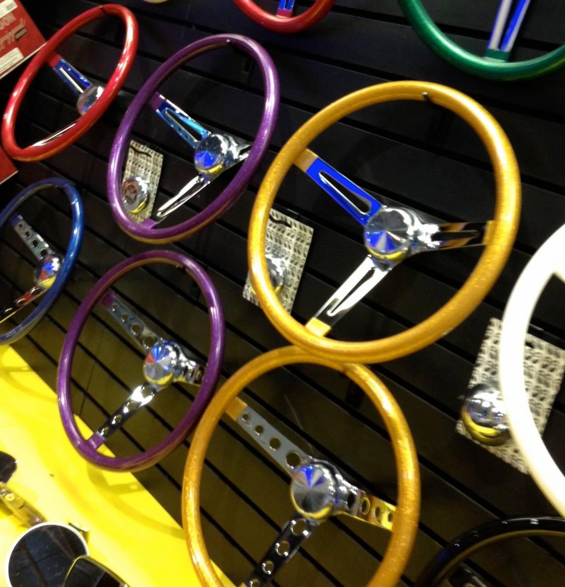 California Metal Flake Steering Wheels In Gold And Purple
