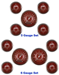 V8 Red Steelie Gauge Set