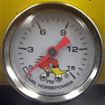 Clay Smith Liquid Pressure Gauge 0-15 PSI - White