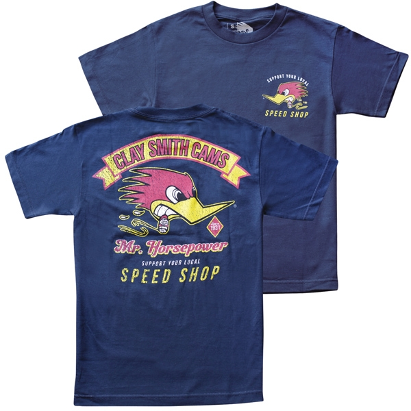 navy vintage clay smith cams speed shop tshirt