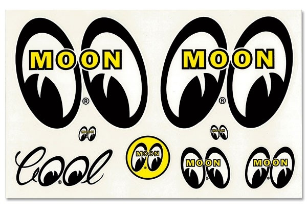 Mooneyes Original Sheet Of Assorted Moon Logo Stickers