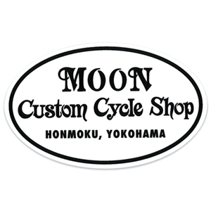 MOON Custom Cycle Shop Oval Decal