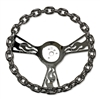"Chrome Chain Steering Wheel with Flame Spoke  11'""  3"" Dish"
