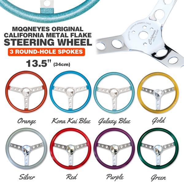 steering metal flake inch wheels california spoke hole wheel mooneyes moon mooneyesusa