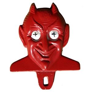 Red Devil Cast Aluminum License Plate Topper