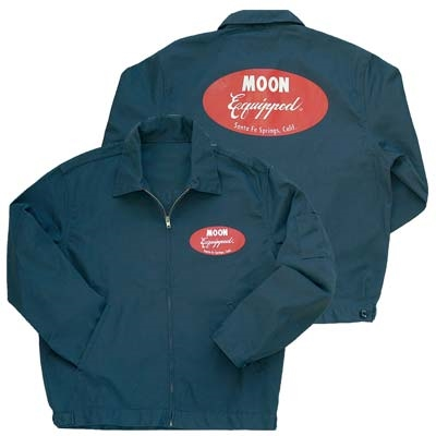 Mooneyes Charcoal Gray Mechanic Jacket With Red Moon